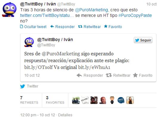 Tuit TwittBoy Plagio Artículo